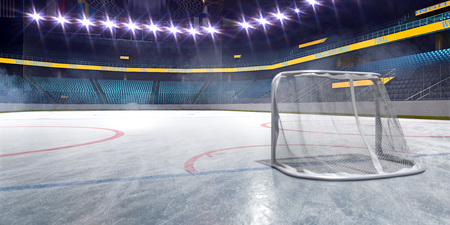 Hockey ice rink sport arena empty field Stock Photo