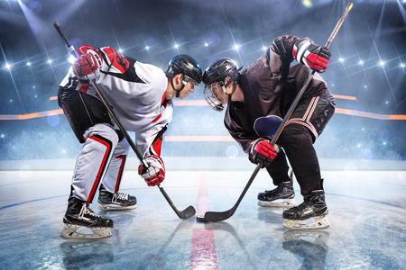 Hockey players starts game around ice arena