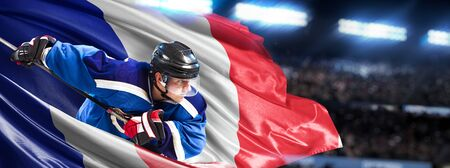 France Hockey Player in action around national flags