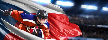 Czech Hockey Player in action around national flags 스톡 콘텐츠
