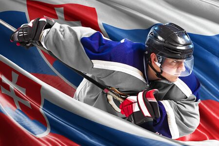Slovakia Hockey Player in action around national flags