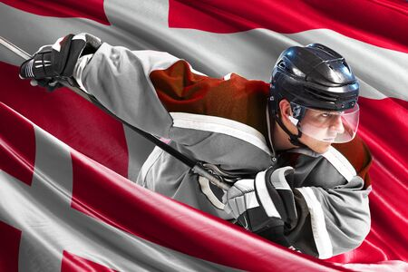 Denmark Hockey Player in action around national flags