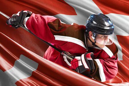 Switzerland Hockey Player in action around national flags