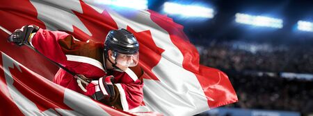 Canada Hockey Player in action around national flags