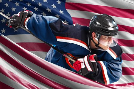 USA Hockey Player in action around national flags