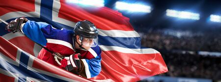 Norway Hockey Player in action around national flags