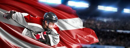 Latvia Hockey Player in action around national flags