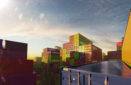 shipping containers at sunny day 3D illustration