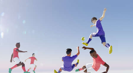 Soccer illustration, player in attack. poly style Stock Photo