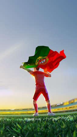 Soccer player after winner game championship hold flag of Portugal. polygon style 3d render illustration 版權商用圖片