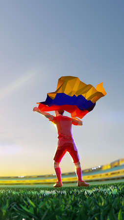 Soccer player after winner game championship hold flag of Armenia. polygon style 3d render illustration