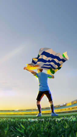 Soccer player after winner game championship hold flag of Uruguay . polygon style 3d render illustration 版權商用圖片