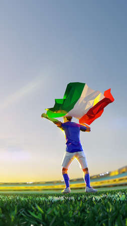 Soccer player after winner game championship hold flag of Italy. polygon style 3d render illustration