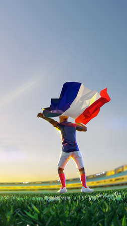 Soccer player after winner game championship hold flag of France. polygon style 3d render illustration