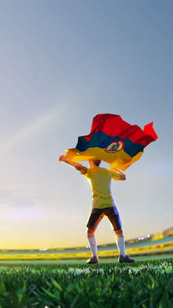 Soccer player after winner game championship hold flag of Columbia polygon style 3d render illustration 版權商用圖片