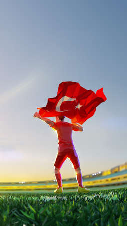Soccer player after winner game championship hold flag of Turkey. polygon style 3d render illustration Stock Photo