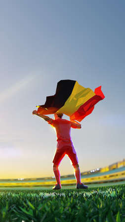 Soccer player after winner game championship hold flag of. polygon style 3d render illustration