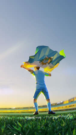 Soccer player after winner game championship hold flag of San Marino. polygon style 3d render illustration