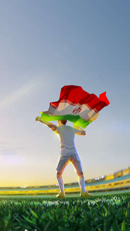 Soccer player after winner game championship hold flag of Iran. polygon style 3d render illustration