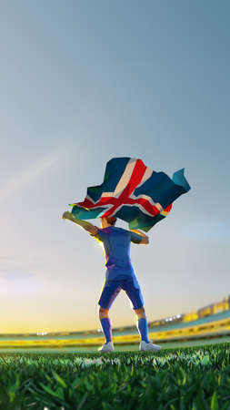 Soccer player after winner game championship hold flag of. Island polygon style 3d render illustration