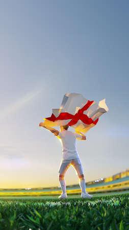 Soccer player after winner game championship hold flag of England. polygon style 3d render illustration