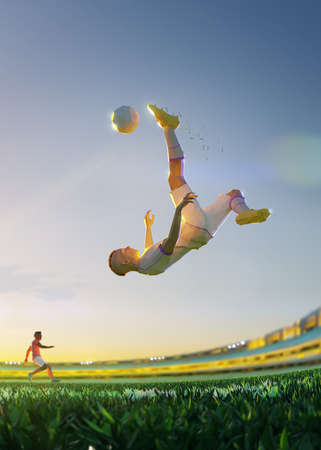 Soccer player in attack. polygon style 3d render illustration Vertical picture