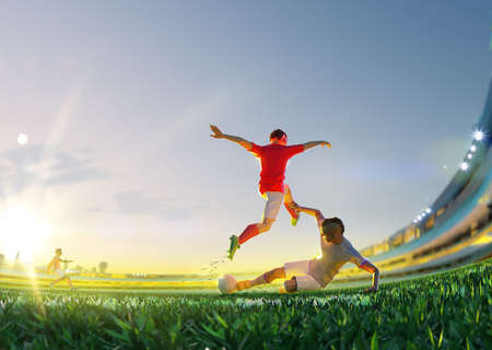 Soccer player in attack. polygon style 3d render illustration 版權商用圖片