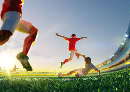 Soccer player in attack. polygon style 3d render illustration Stock Photo