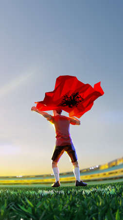 Soccer player after winner game championship hold flag of Albania. polygon style 3d render illustration