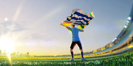 Soccer player after winner game championship hold flag of Uruguay . polygon style 3d render illustration Stock Photo