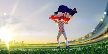 Soccer player after winner game championship hold flag of Croatia. polygon style 3d render illustration