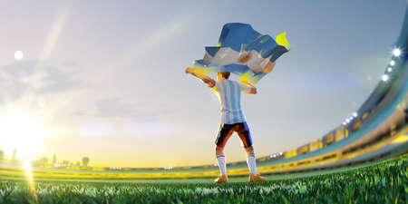 Soccer player after winner game championship hold flag of Argentina. polygon style 3d render illustration