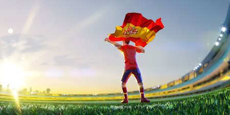 Soccer player after winner game championship hold flag of Spain. polygon style 3d render illustration