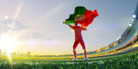 Soccer player after winner game championship hold flag of Portugal. polygon style 3d render illustration Stock Photo