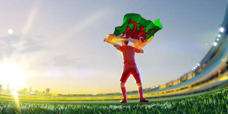 Soccer player after winner game championship hold flag of Wales. polygon style 3d render illustration