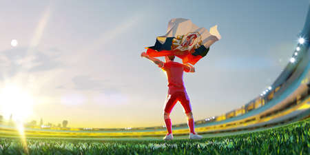 Soccer player after winner game championship hold flag of Serbia. polygon style 3d render illustration Stock Photo
