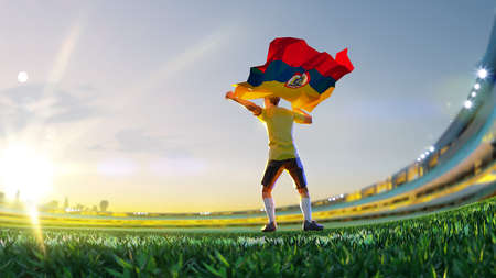 Soccer player after winner game championship hold flag of Columbia polygon style 3d render illustration Stock Photo