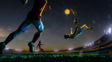 Soccer player in attack shining ball in night ground . polygon style 3d render illustration