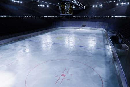 empty hockey arena in 3d render illustration