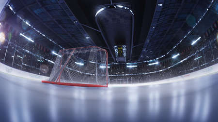 hockey arena fisheye leans photorealistic 3d render illustration