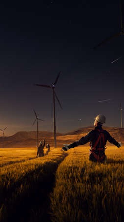 Happy engineer feel success after good work. He standing and looking beautiful sunset landscape Stock Photo