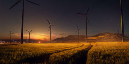 Beautiful sunset field with wind mill generators. big city in background Stock Photo
