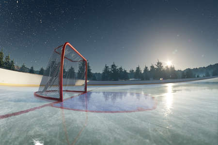 Ice rink arena. around forest and mountains realistic 3d render illustration