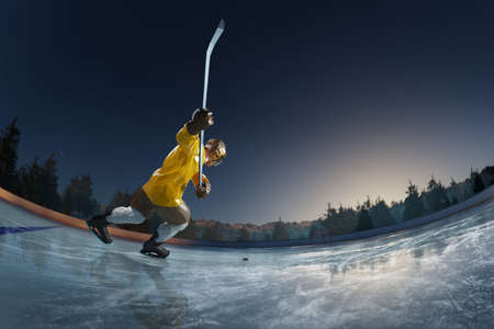 hockey player play in Ice rink arena. around forest and mountains 3d render polygon style Stock Photo