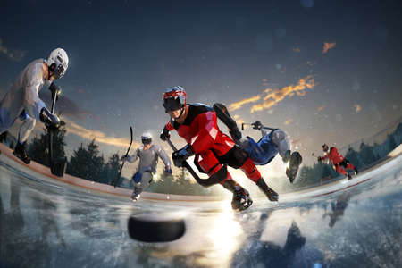 hockey player play in Ice rink arena. around forest and mountains rendering polygon style Stock Photo