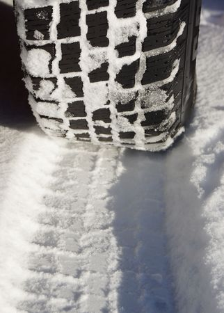 gritting: Winter tires Stock Photo