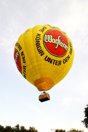 Hot air balloon with advertising for Warsteiner beer