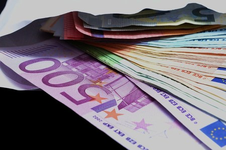 Money on black background