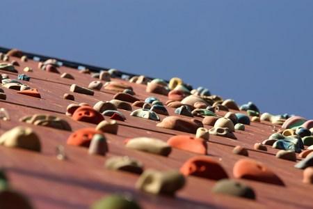 climbing  wall: Climbing wall under blue sky