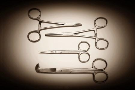 obstetrician: Various scissors Stock Photo